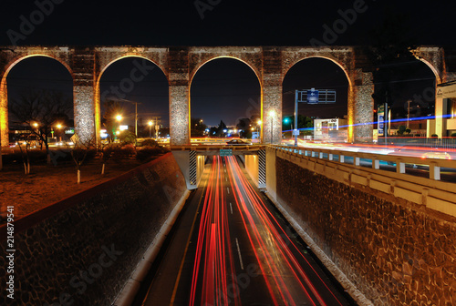 Queretaro's Aqueduct at Night Wallpaper Mural