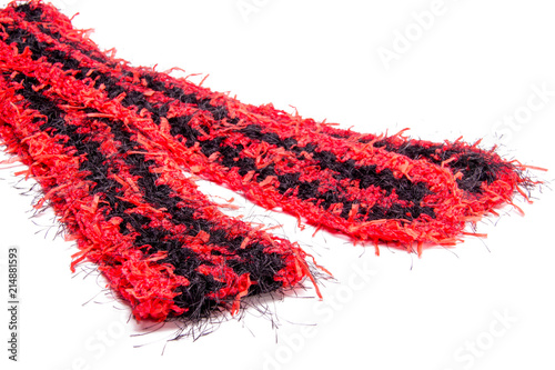 Crochet Fun Fur Black And Red Scarf Striped Pattern For Cold Winter