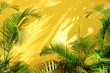 Leinwandbild Motiv Bright yellow painted wall framed with green tropical palm leaves, sunlight with shadows patterns, summer background.