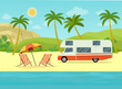 Retro camper car trailers caravan and two deck chairs on the beach. Tropical landscape with palm trees, ocean and mountain. Vector flat style illustration