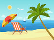 Deck chairs and umbrella beach on the beach. Vector flat style illustration