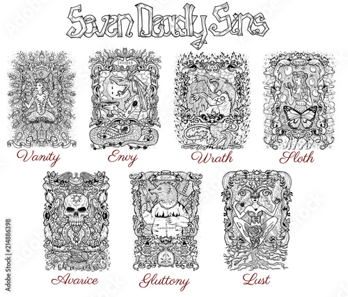 Obraz na plátně Set with seven deadly sins characters in frames, black and white line art