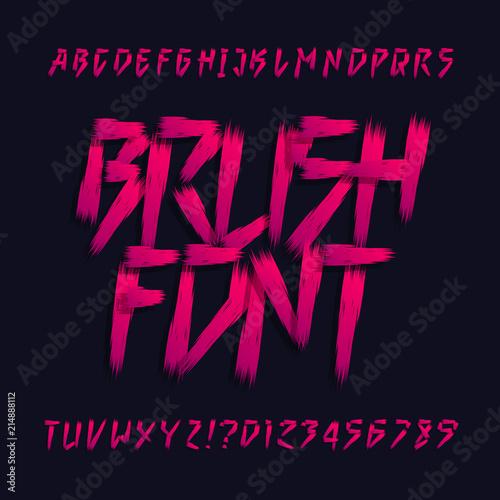 Brush lettering alphabet font  Uppercase brush stroke