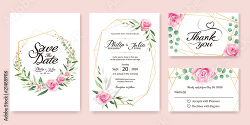 Obraz Wedding Invitation, save the date, thank you, rsvp card Design template. Vector. Summer flower, pink rose, silver dollar, olive leaves, Wax flower. - fototapety do salonu