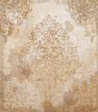 Damask pattern texture Vector. Royal fabric background. Luxury decors copper colors