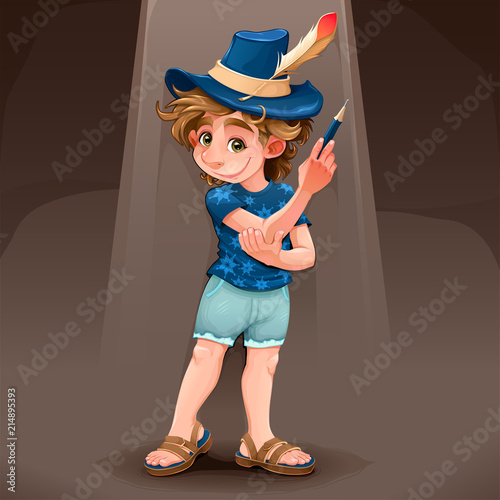 Fotobehang Kinderkamer Magician child with blue hat