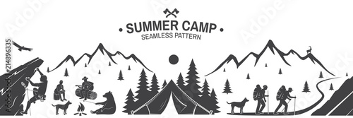 Summer camp seamless pattern. Vector illustration. Canvas