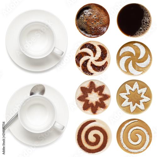 Fototapeta Top view of coffee cups and set of latte art. obraz na płótnie