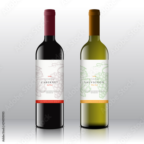Fototapeta Premium Quality Red and White Wine Labels Set on the Realistic Vector Bottles. Clean and Modern Design with Hand Drawn Grapes Bunch, Leaf and Retro Typography. obraz