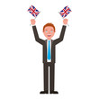 businessman with flags of great britain avatar character