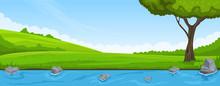 Summer Landscape. Riverbank An...