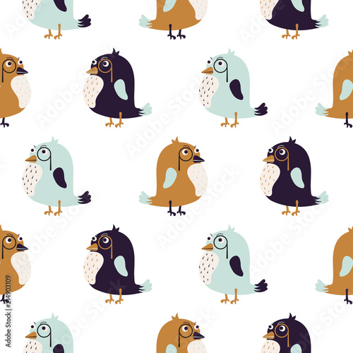 Bird sir cute seamless vector pattern. Lerretsbilde