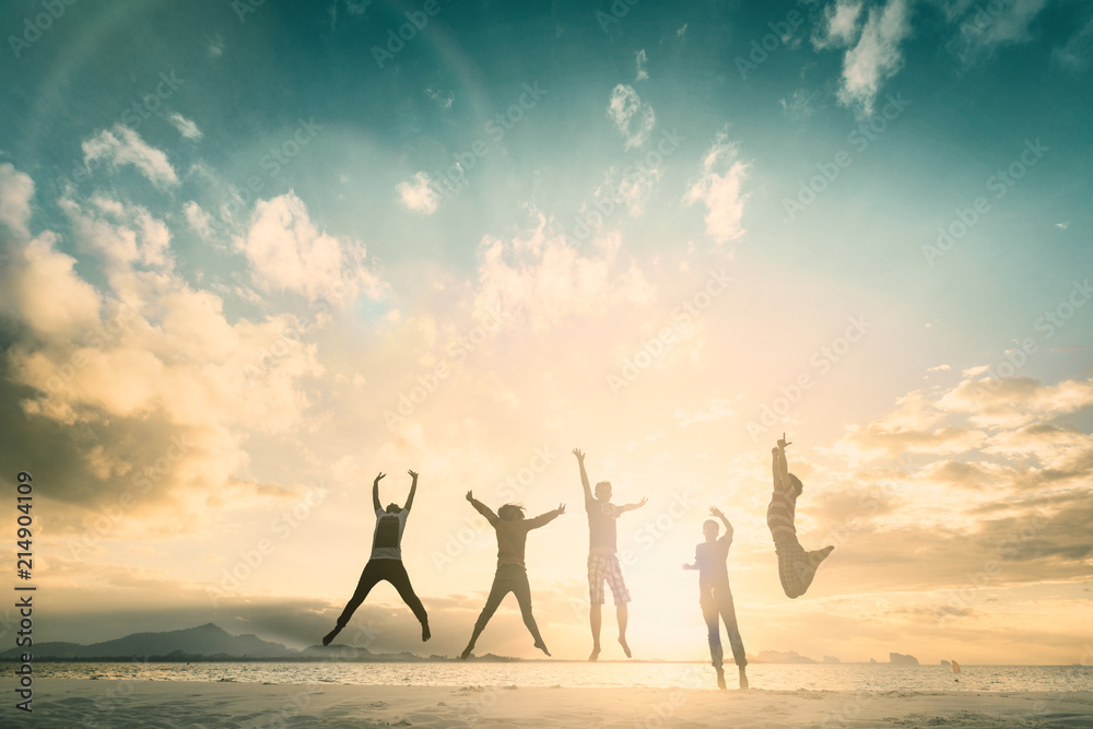 Fototapety, obrazy: Happy family people group celebrate jump for good life on weekend concept for win victory, person faith in financial freedom healthy wellness, Great insurance team support retreat together in summer.