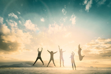 Happy family people group celebrate jump for good life on weekend concept for win victory, person faith in financial freedom healthy wellness, Great insurance team support retreat together in summer.