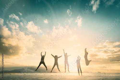 Happy family people group celebrate jump for good life on weekend concept for win victory, person faith in financial freedom healthy wellness, Great insurance team support retreat together in summer Fototapeta