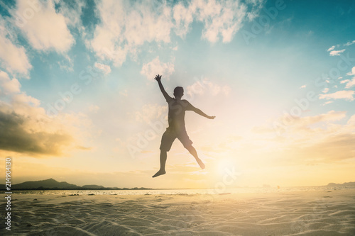 Valokuvatapetti Happy family people group celebrate jump for good life on weekend concept for win victory, person faith in financial freedom