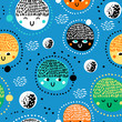 Childish seamless pattern with planets, stars and asteroids. Hand drawn overlapping background for your design. Vector childish pattern for fabric, textile, nursery wallpaper.