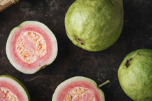 Fresh Ripe Guava With Rustic Background