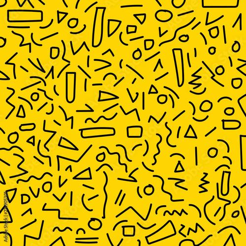 Hand draw black geometric memphis pattern 80's-90's styles on yellow background Canvas Print