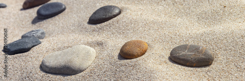 Printed kitchen splashbacks Stones in Sand beautiful stones different colours on the sand