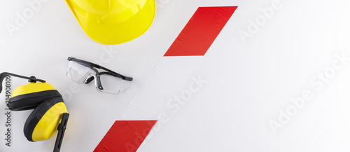 Fotografía  Barrier Tape Strip Separating Safety Gear from Copy Space Banner Image