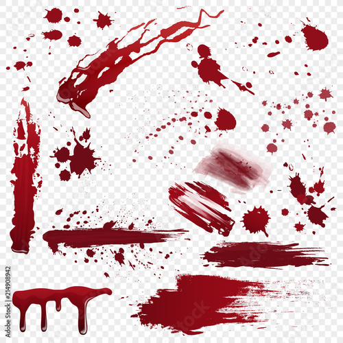 Papel de parede  Set of vector various realistic detailed bloodstain, blood or paint splatters isolated on the alpha transperant background