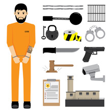 Prisoner With Prison Equipment