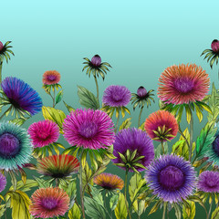 Plakat Beautiful colorful aster flowers with green leaves on blue background. Seamless floral pattern. Watercolor painting. Hand drawn and painted illustration.