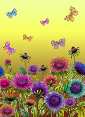 NaklejkaBeautiful colorful aster flowers and bright butterflies on yellow background. Seamless floral pattern. Watercolor painting. Hand drawn and painted illustration.