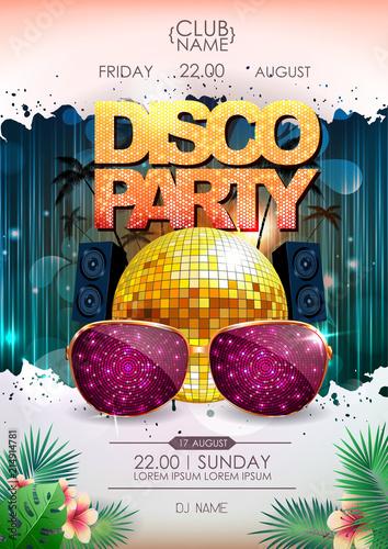 Disco background. Disco ball summer party poster © annbozhko