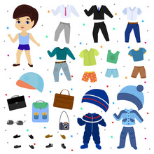 Paper Doll Vector Boy Dress Up Clothing With Fashion Pants Or Shoes Illustration Boyish Set Of Male Clothes For Cutting Cap Or T-short Isolated On White Background