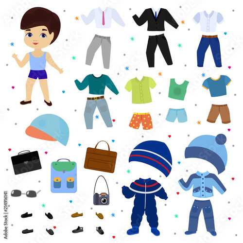 Paper doll vector boy dress up clothing with fashion pants or shoes illustration Wallpaper Mural