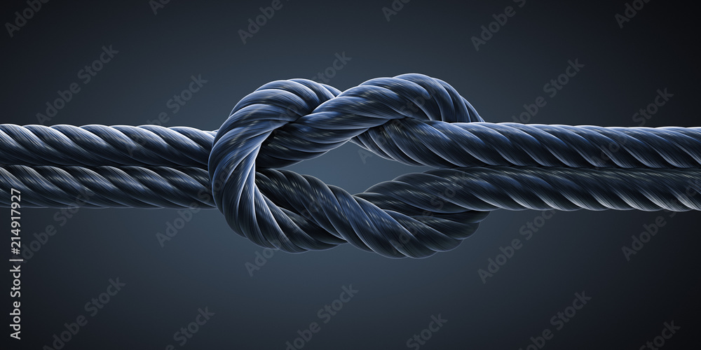 Fototapeta Schwarzer Kreuzknoten vor dunklem Hintergrund