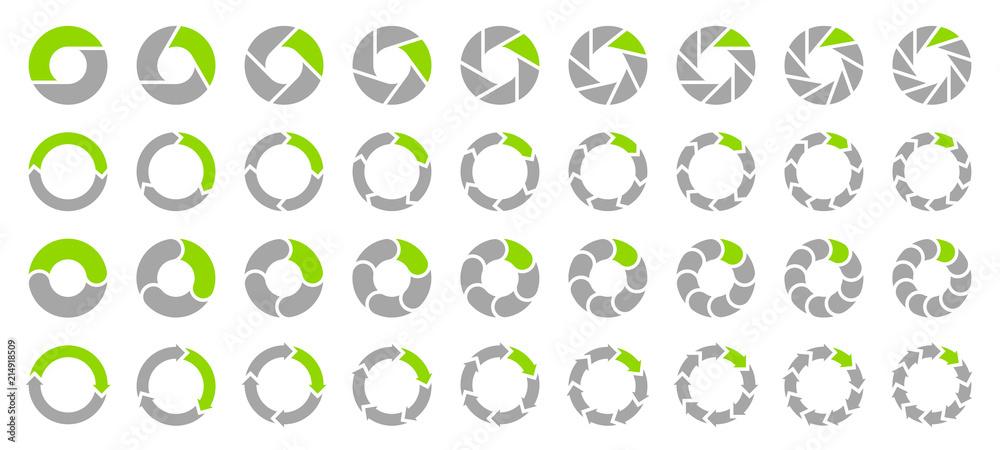 Fototapety, obrazy: Set Pie Charts Arrows Grey/Green
