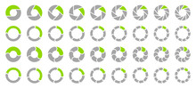 Set Pie Charts Arrows Grey/Green