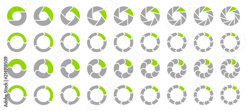 Obraz Set Pie Charts Arrows Grey/Green - fototapety do salonu