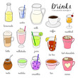 Hand drawn colored non-alcoholic drinks.