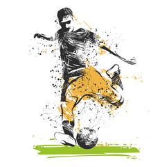 Fototapeta giocatore di calcio che tira il pallone