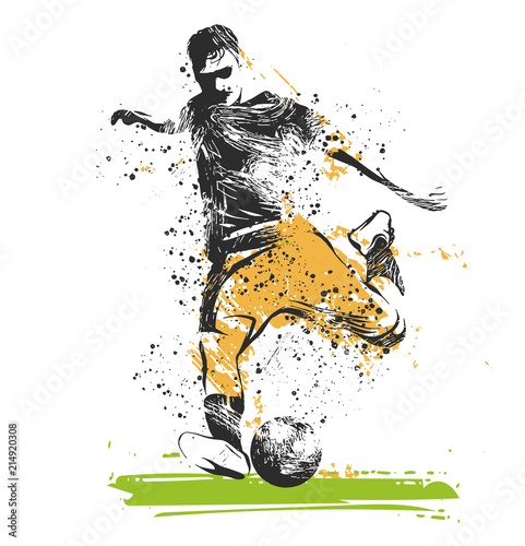 Fotografie, Tablou  giocatore di calcio che tira il pallone