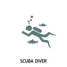 Scuba Diver Creative Icon. Sim...