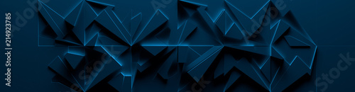 Fotografiet  Dark-Blue Wide Abstract Site Head (3d Illustration)