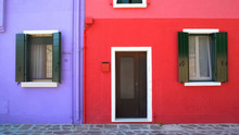 Amazing Colorful Buildings On Burano Island, Purple And Red Houses In Venice