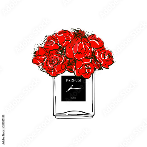 Hand drawn vector illustrations - french perfume. Outline design elements. Fashion sketch. Glass bottles floral with red flowers. Perfect for invitation, greeting card, poster, print etc. Fototapete