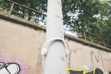 Headphones At Lamp Post