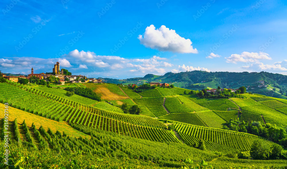 Fototapety, obrazy: Langhe vineyards sunset panorama, Serralunga Alba, Piedmont, Italy Europe.