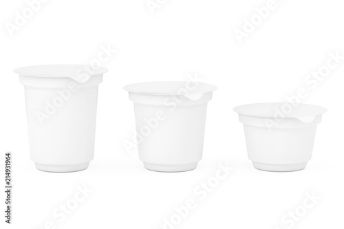 Blank White Packaging Containers for Yogurt, Ice Cream or Dessert. 3d Rendering