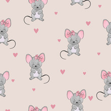 Seamless Cute Mice Pattern. Ve...