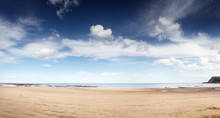 Panoramic Seascape Of The Coastline Of Yorkshire