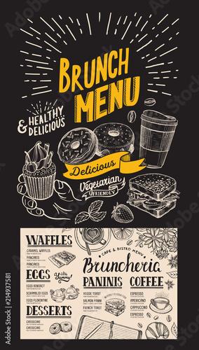 Fototapeta Brunch restaurant menu. Vector food flyer for bar and cafe. Design template with vintage hand-drawn illustrations on chalkboard background. obraz na płótnie
