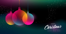 Christmas And New Year Glow Decoration Card